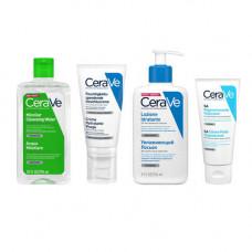 CeraVe Набор Базовый Увлажняющий Очищающая мицеллярная вода 295 мл + Лосьон для лица 52 мл + Лосьон 88 мл + Крем для ног 88 мл (CeraVe, Увлажнение кожи)