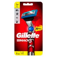GILLETTE Бритва с 2 сменными кассетами Red MACH3 Turbo 3D