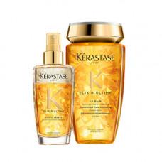 Kerastase Набор для роскошного блеска волос Elixir Ultime (Шампунь-ванна, 250 мл + Масло-спрей, 100 мл) (Kerastase, Elixir Ultime)