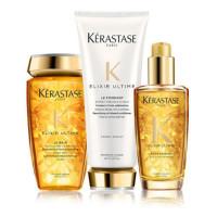 """Kerastase Набор """"Elixir Ultime"""": Очищающий шампунь-ванна на основе масел 250 мл + Молочко 200 мл + Масло для всех типов волос 100 мл (Kerastase, Elixir Ultime)"""