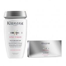 Kerastase Набор Specifique (Шампунь-Ванна Prevention, 250 мл + Интенсивный курс от выпадения Aminexil Force R, 12х6 мл) (Kerastase, Specifique)