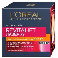 """L'OREAL PARIS Дневной антивозрастной крем для лица """"Ревиталифт Лазер"""" против морщин, восстанавливающий, SPF 20"""