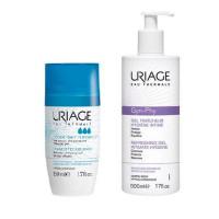 Uriage Комплект Дезодорант тройного действия ролик, 50мл+Гель для интимной гигиены Жин-фи, 500мл (Uriage, Гигиена Uriage)
