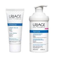 Uriage Комплект Ксемоз Крем для лица, 40мл+Крем липидовосстанавливающий, против раздражений 400мл (Uriage, Xemose)