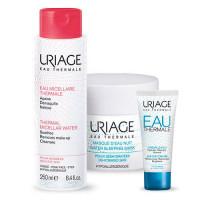 Uriage Набор Eau thermale (Легкий увлажняющий крем, 40 мл + Ночная маска, 50 мл + Мицеллярная вода, 250 мл) (Uriage, Eau thermale)